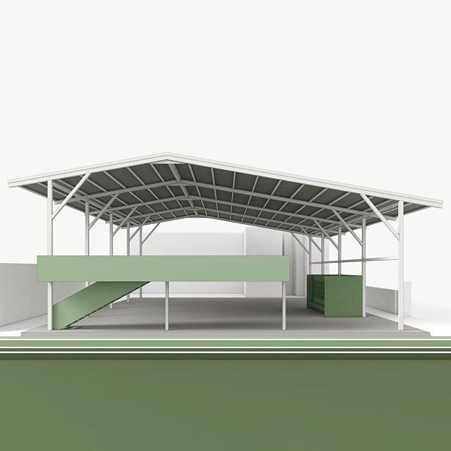 Athletic Pavilion by Kamara Projects 🏐⚽🥋🐍 A roof canopy shelters a multipurpose sports surface from monsoon rains. While the interior flows directly onto an adjacent football field, an open air mezzanine level above overlooks both spaces. Beginning construction summer 2019. #athleticpavilion #monsoon #kathmanduvalley #indoorvolleyball