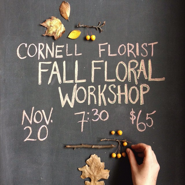 Warm up your Thanksgiving floral skills with us on November 20th. We will be working with the best of the season - foliage, berries, pods, and the lush colors of autumn - to make a gorgeous centerpiece for your holiday table.  We will provide all the materials, tools, and refreshments; you will get to take your arrangement home. Sign up via e-mail or in the shop ahead of time to reserve your spot.