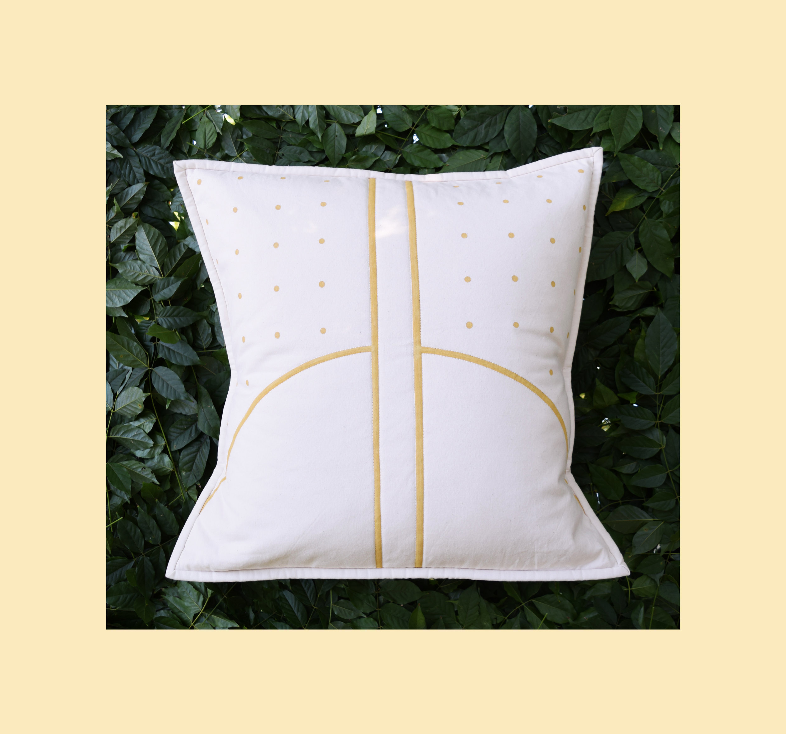Court Quilted Pillow Cover   Hand-painted design, constructed from unbleached cotton canvas
