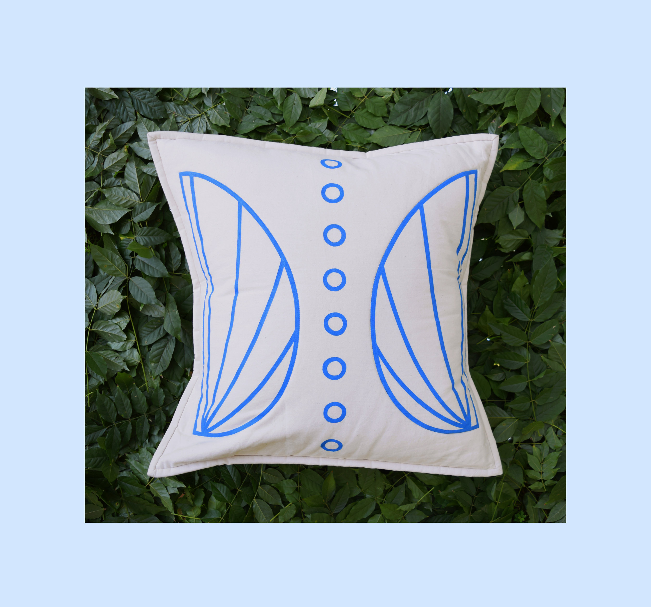Shell Quilted Pillow Cover   Hand-painted design, constructed from unbleached cotton canvas