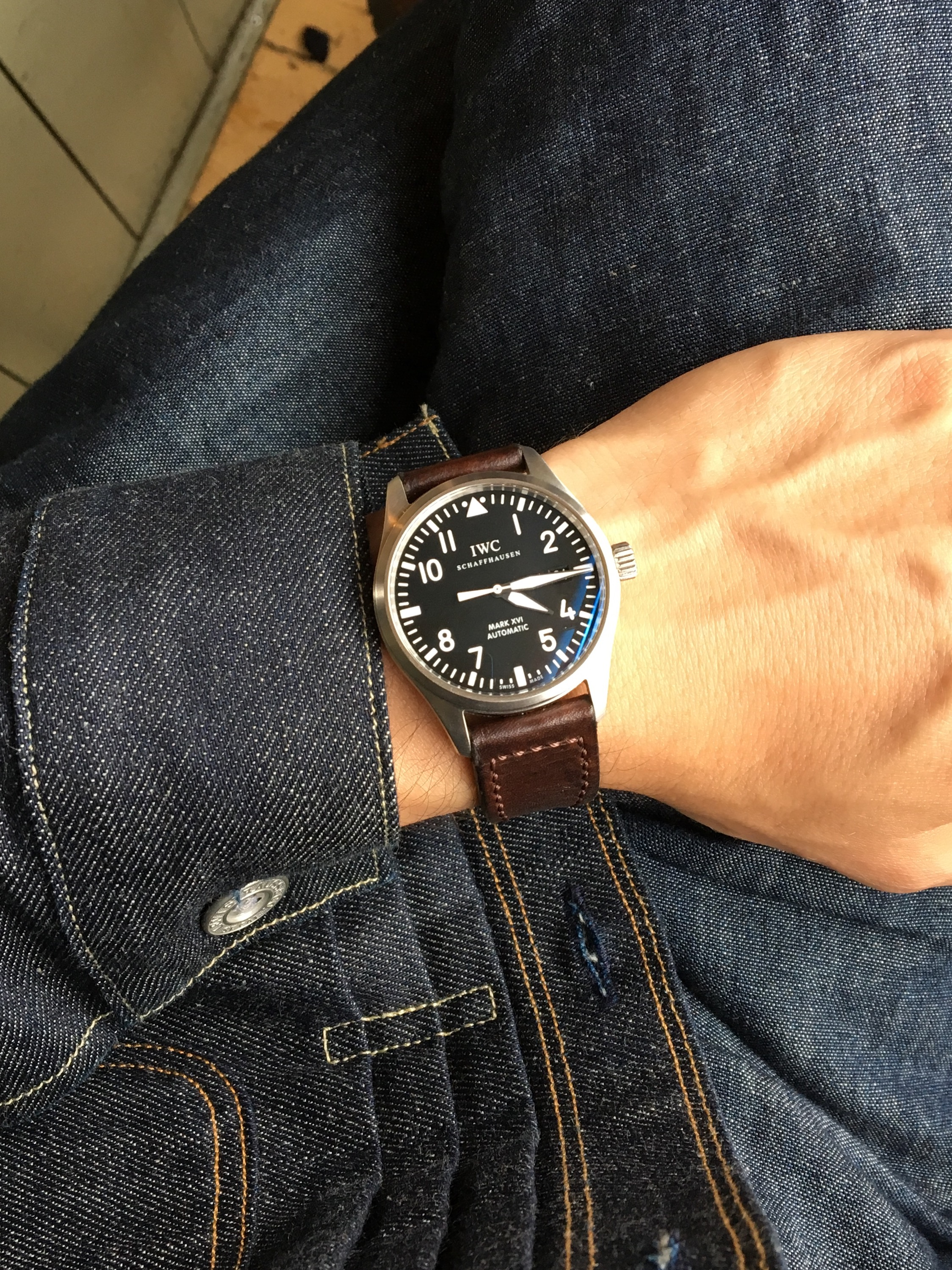 Casual snob IWC Mark XVI and Brown Strap 2.jpg
