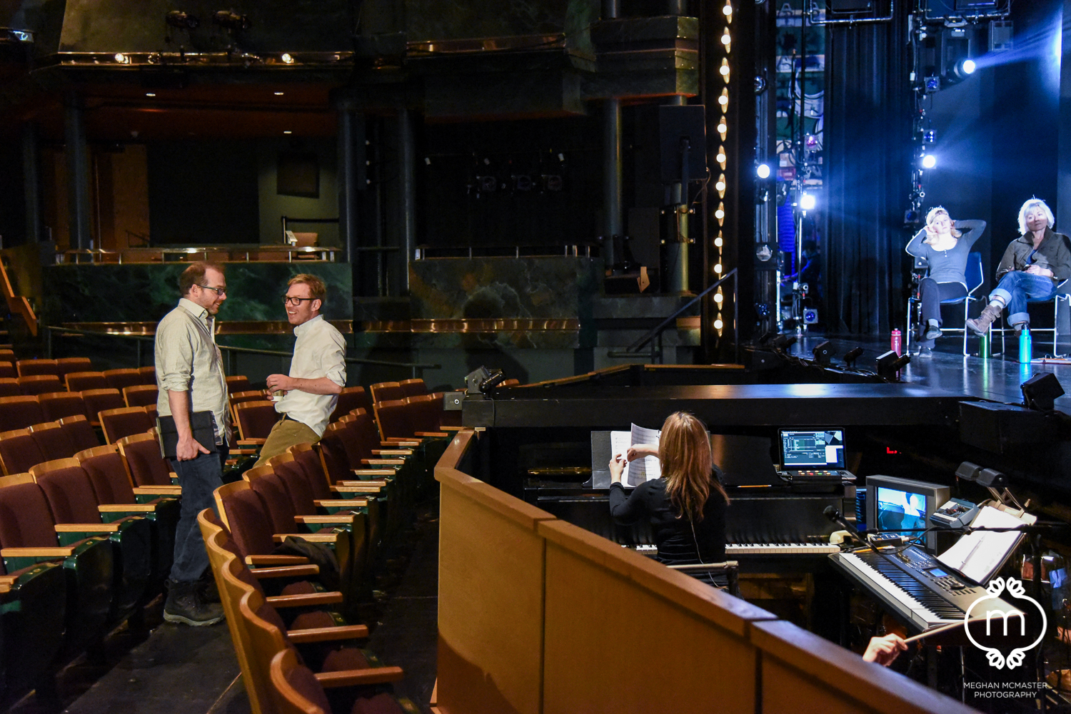 Nicholas Lloyd Webber and James D. Reid listening in on a world premiere of The Little Prince - The Musical rehearsal at Theatre Calgary.