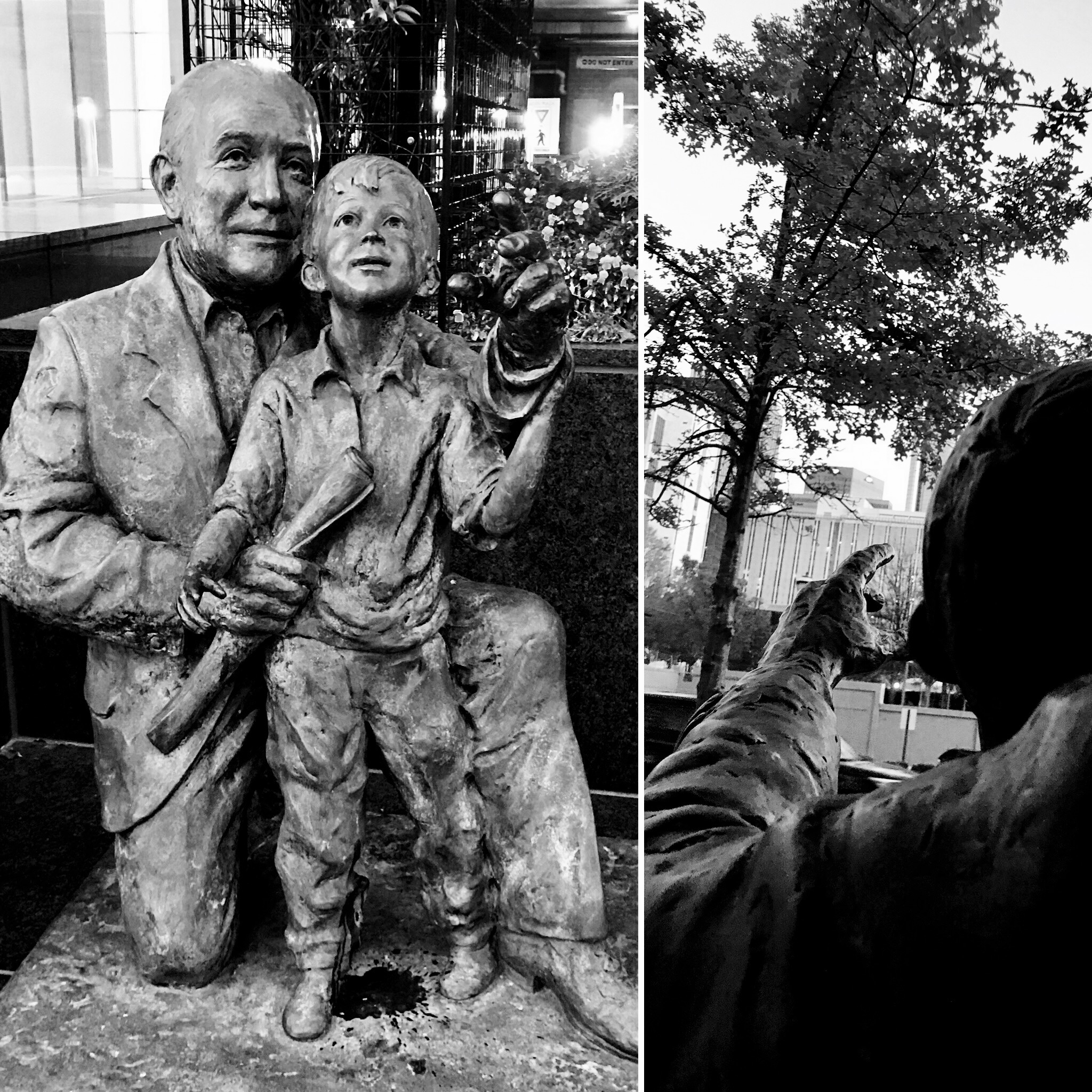 Statue of a man very excited to point out his favorite tree to a young boy.