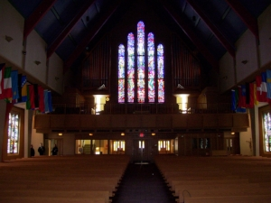 Boe Chapel Stained Glass Lights Dimmed St. Olaf.JPG