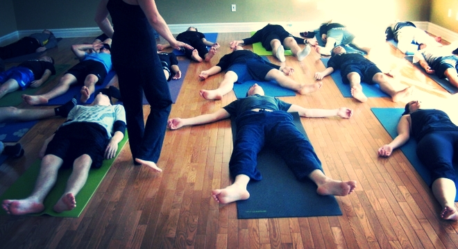 Shavasana with the Lockview Dragons Hockey Team