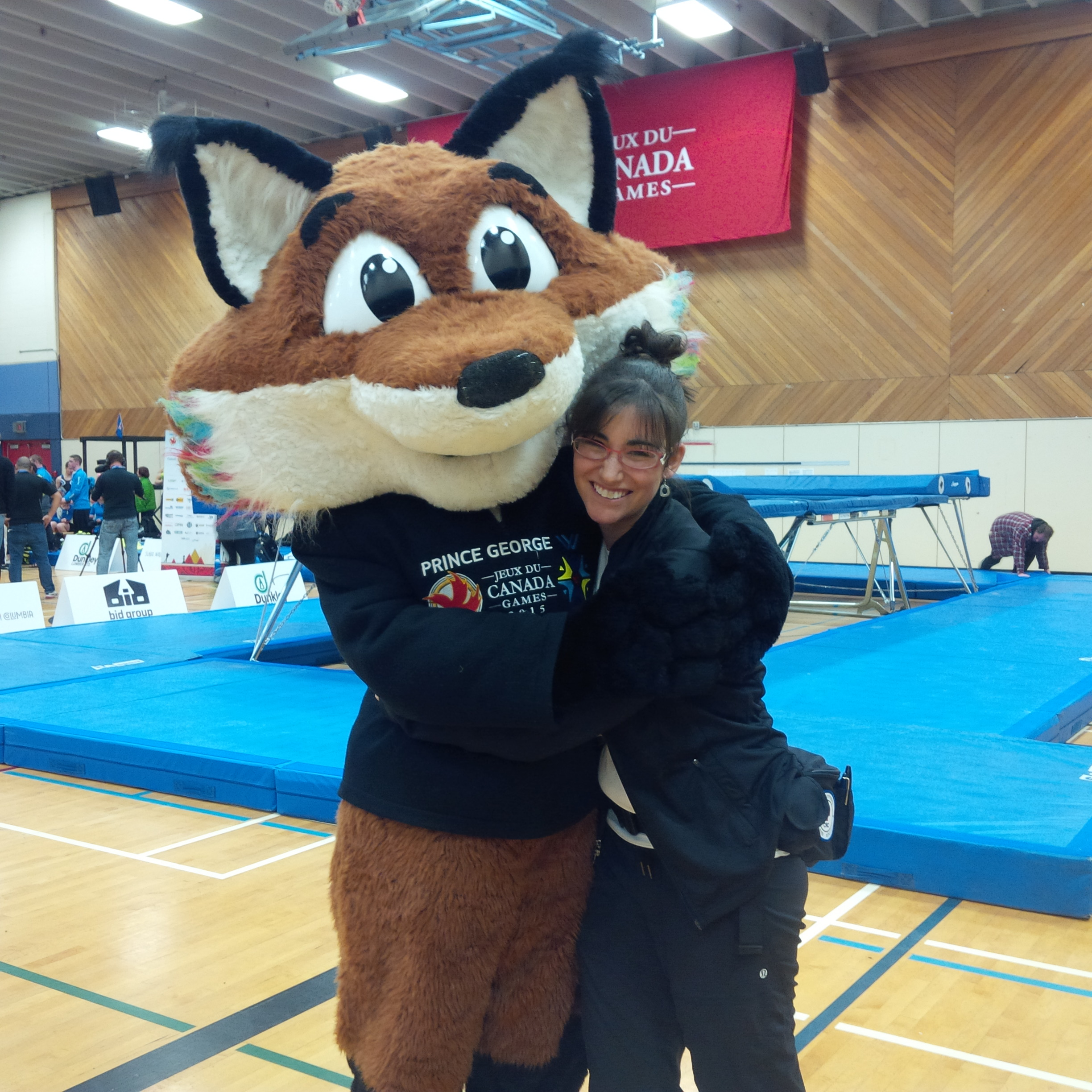Nanguz and I at the trampoline competition during the 2015 Canada Winter Games.