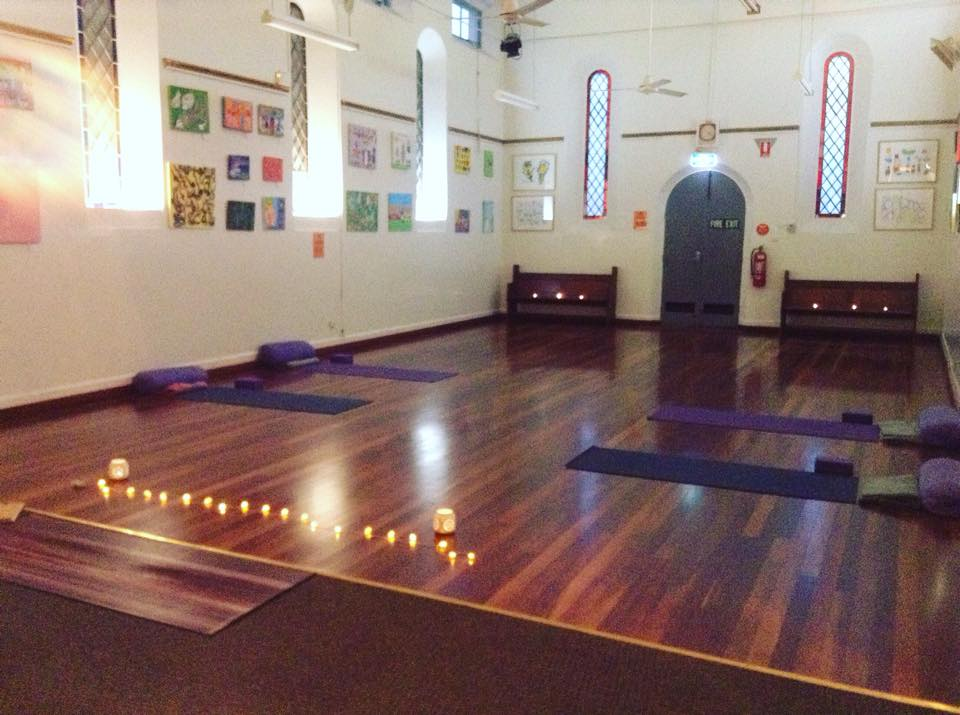 The class setup in the community centre (photo credit: Earth Shanti Yoga)