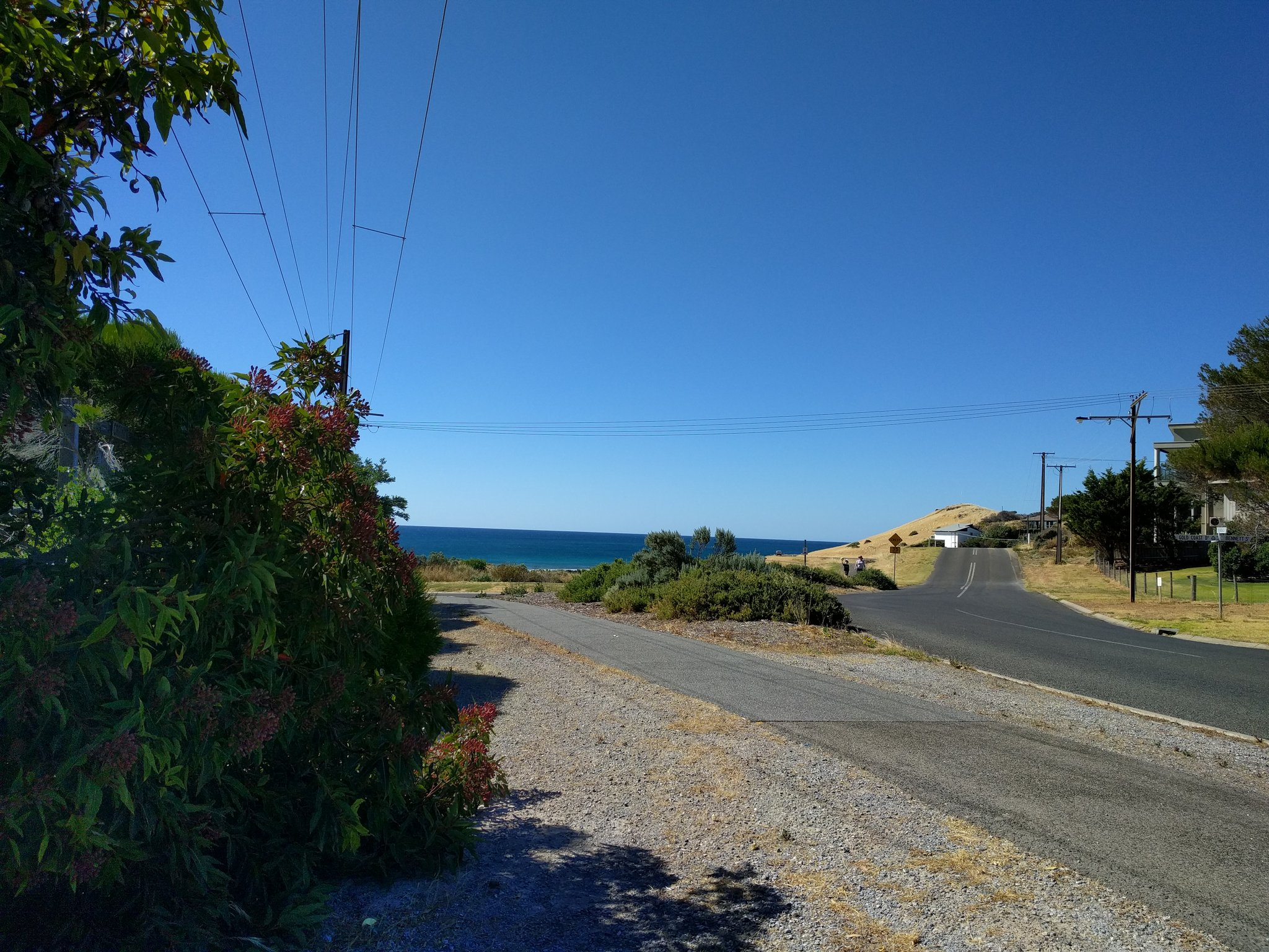 The view from the end of the driveway of the Airbnb in Carrickalinga
