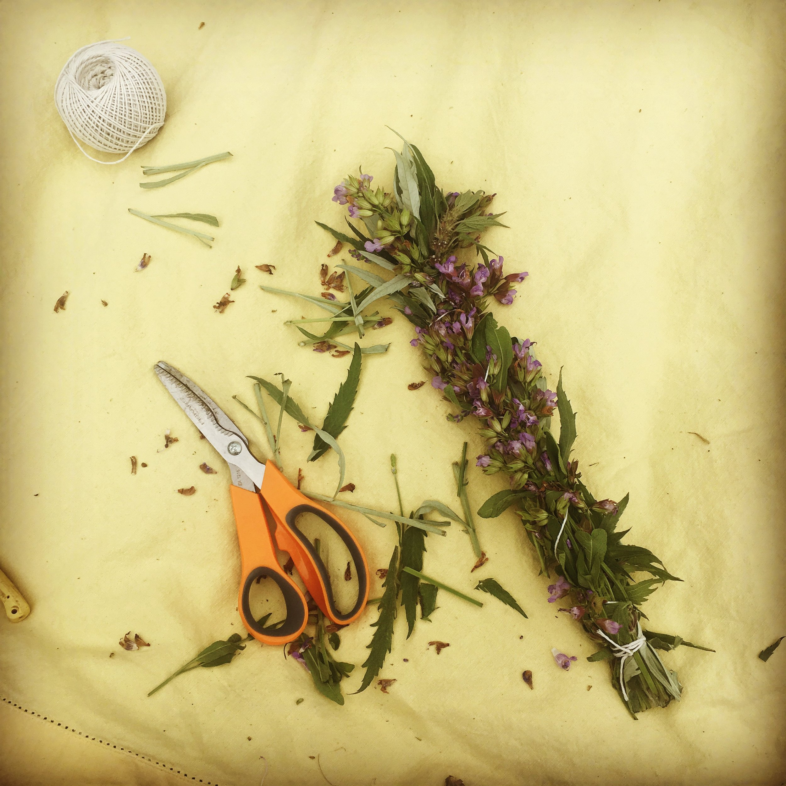 Making herbal burning bundles