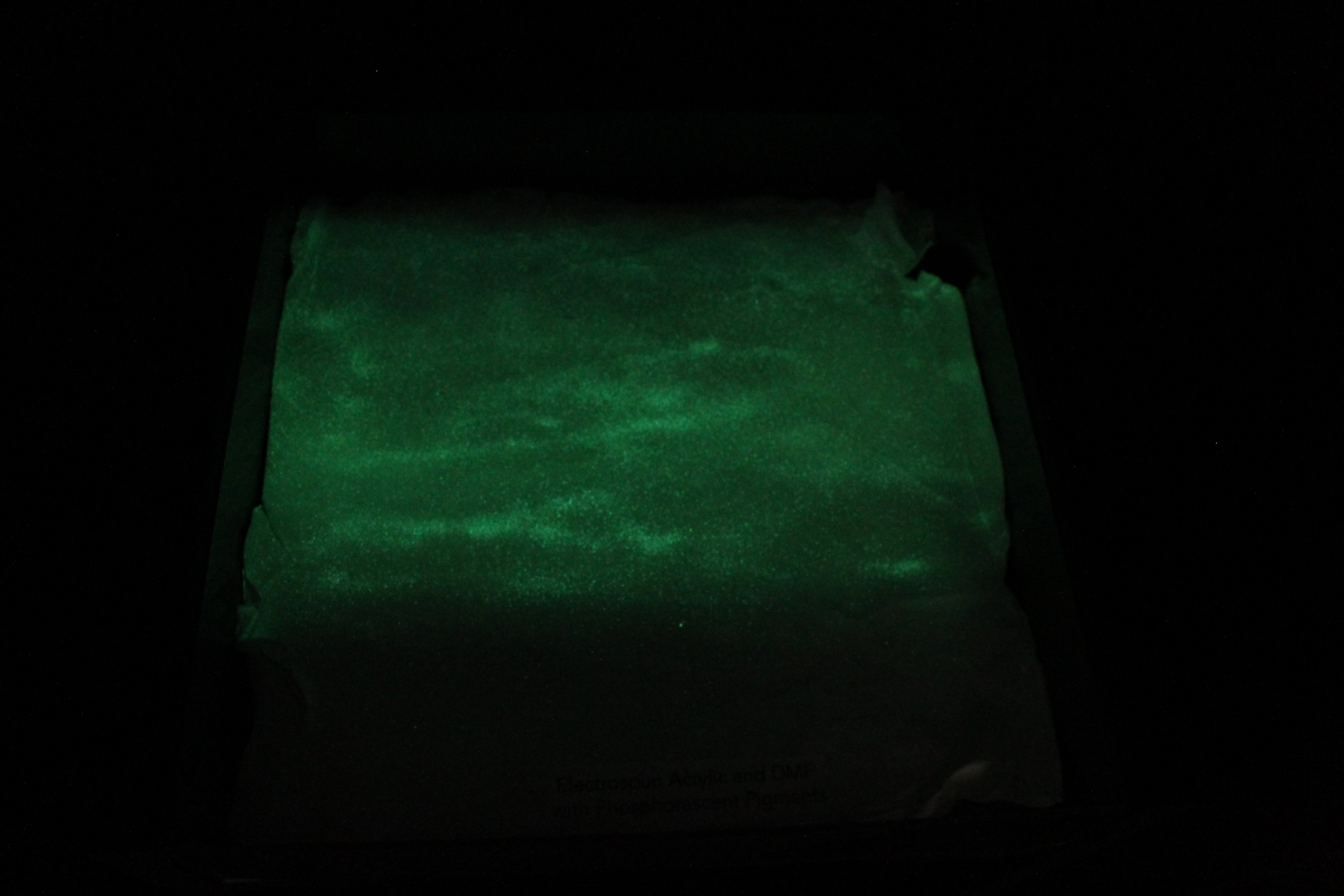 electrospun fabric after UV light is removed