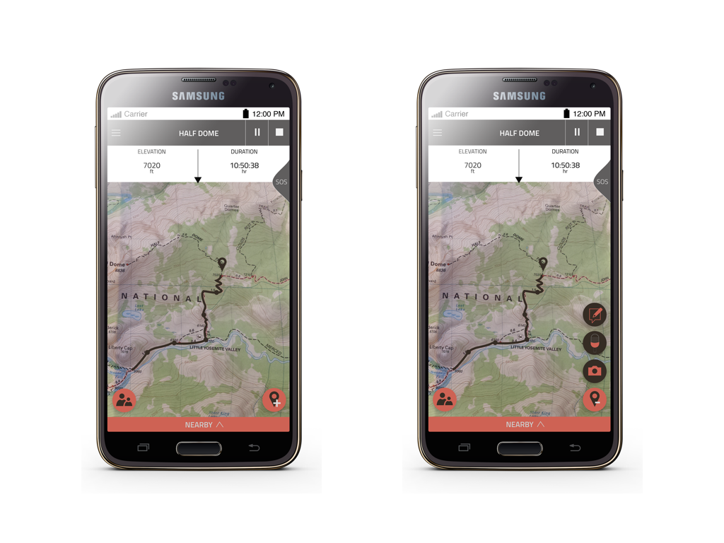 Ongoing timeline:  This is what you see when you are on the hike. You swipe down to see the elevation you are at and the duration you've been on the hike.  Record:  You can mark a point on the map with a photo, audio or note. This creates your timeline.