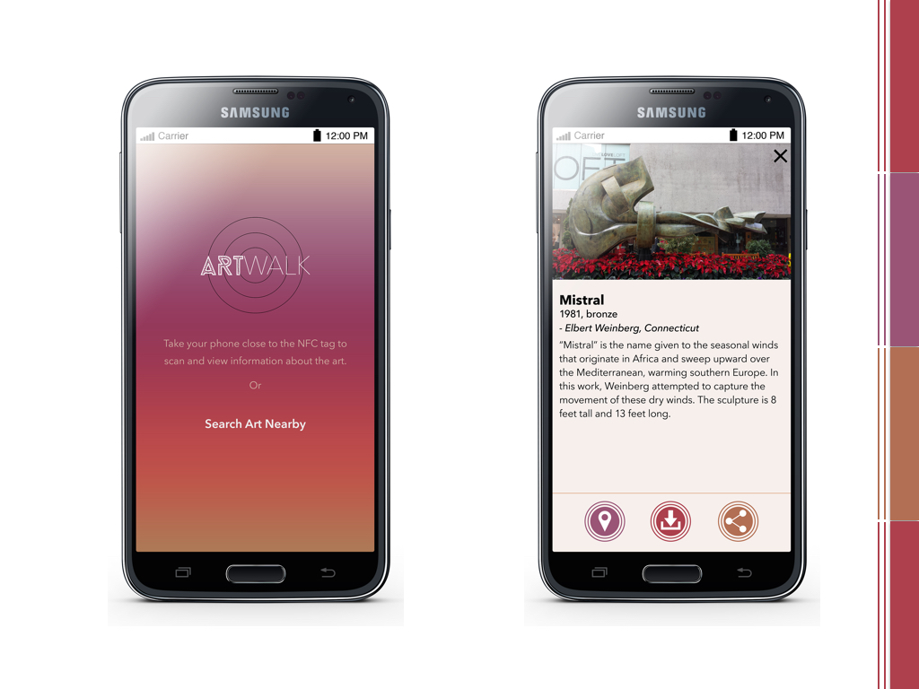 HOME SCREEN: The user can tag using NFC technology from this screen or just simply search for art nearby.  Once the phone is brought close to the NFC tag, the user sees information about the art, which he can see location of, save or share from this screen.