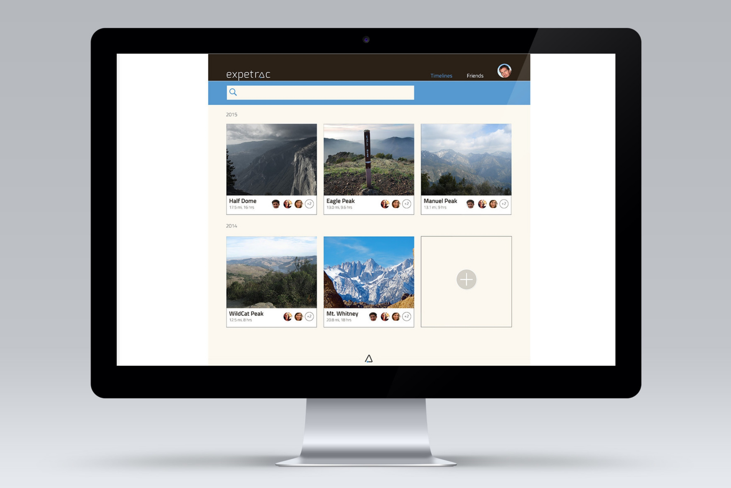The home page has the hiking timelines of the user. The other navigation is friends, from where the user can invite friends to go with and also co-ordinate with them.