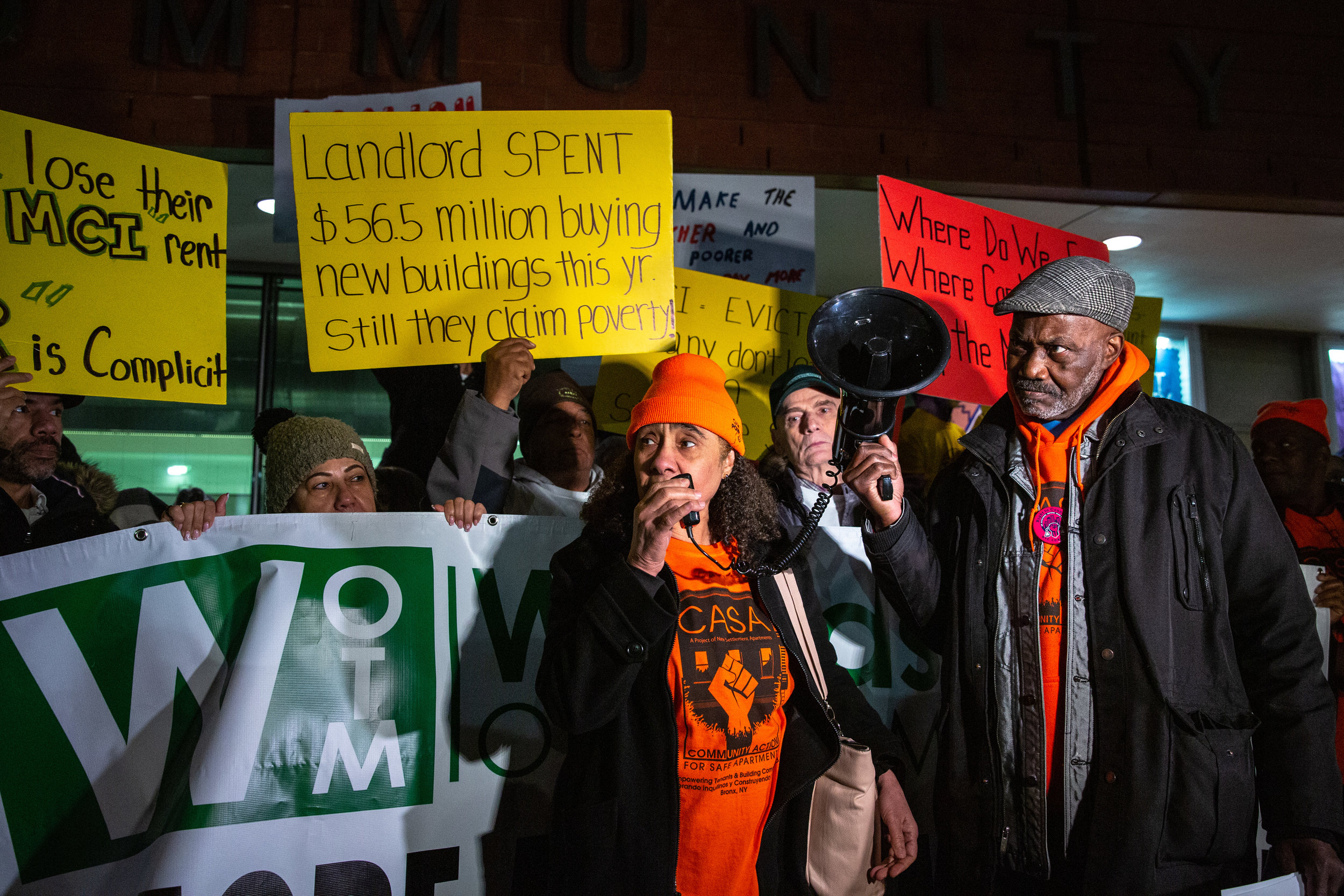 "It was a chilly evening for some 200 protesters in front of a Mount Eden community center on a somewhat somber strip of Jerome Avenue reiterating a collective cry: Rent is ""too damn high,"" and ""it ain't right."" Two activist groups — the Northwest Bronx Community and Clergy Coalition and Community Action for Safe Apartments — hosted a rally and tenant town hall at the New Settlement Community Center on Jerome Avenue, joined by members of the Upstate-Downstate Housing Alliance that's fighting this year for what they describe as universal rent control in Albany.  Shot on assignment for The Riverdale Press ."
