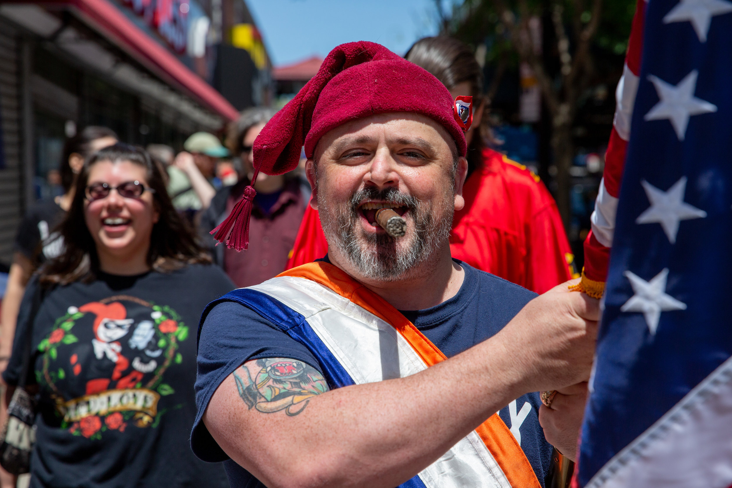 Isaac Moore puffs on a cigar as he leads members of The Great and Glorious Grand Army of the Bronx to West 225th Street where they ceremonially annex Marble Hill into the Bronx from Manhattan.  Shot on assignment for The Riverdale Press .