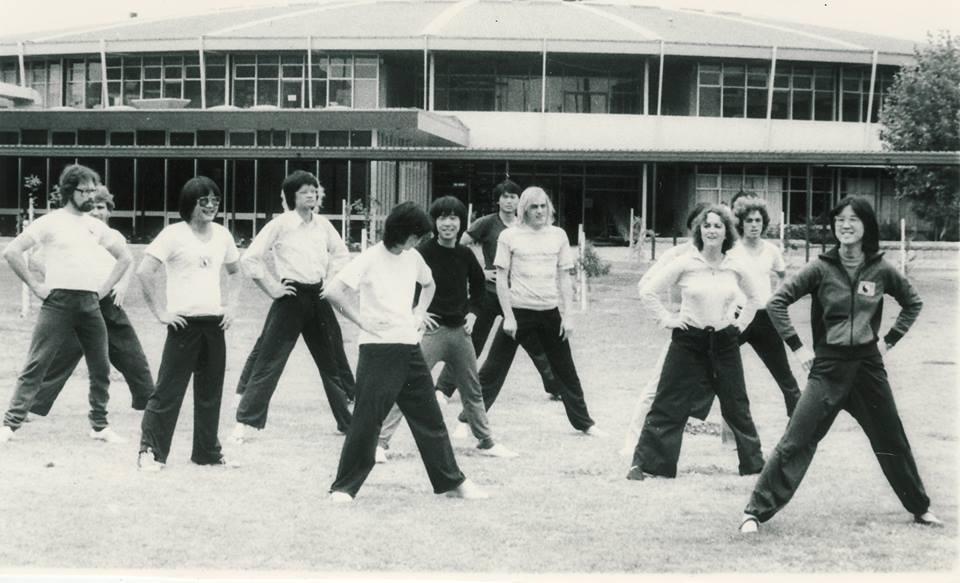 Jan Lee (far right) leads The Tai Chi Club, 1977.