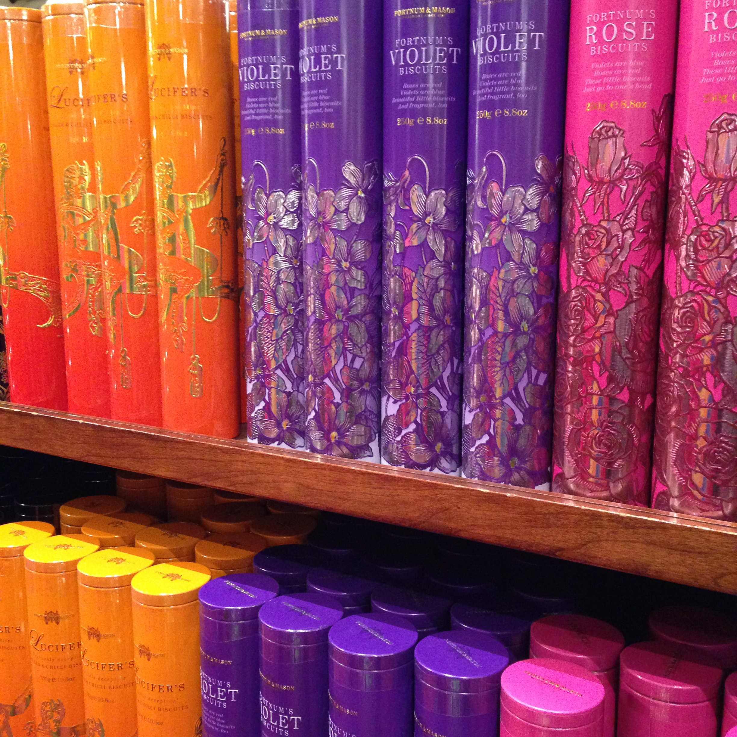 Display of Fortnum & Mason's wonderful biscuits in their London shop.