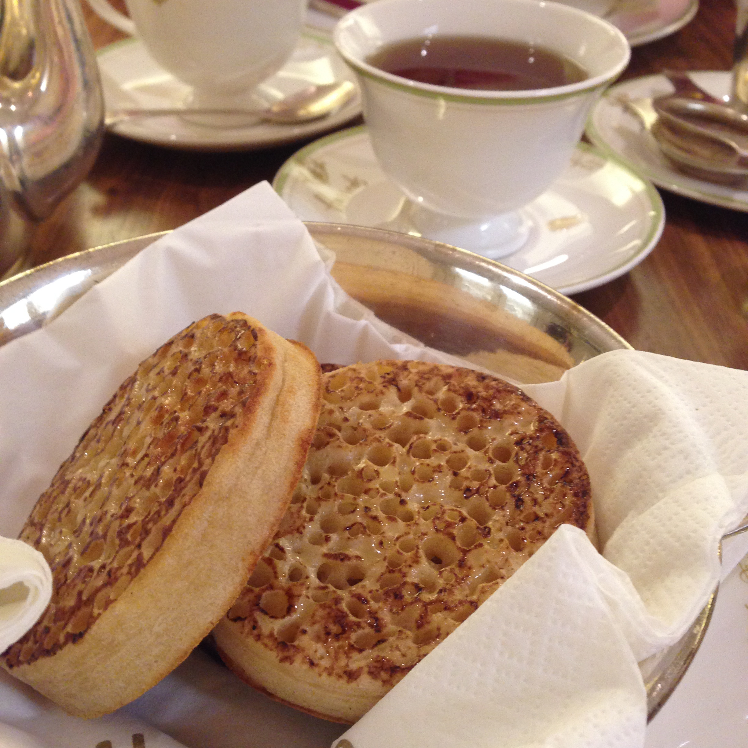 Crumpets & Tea at the Harrods Tea Room.