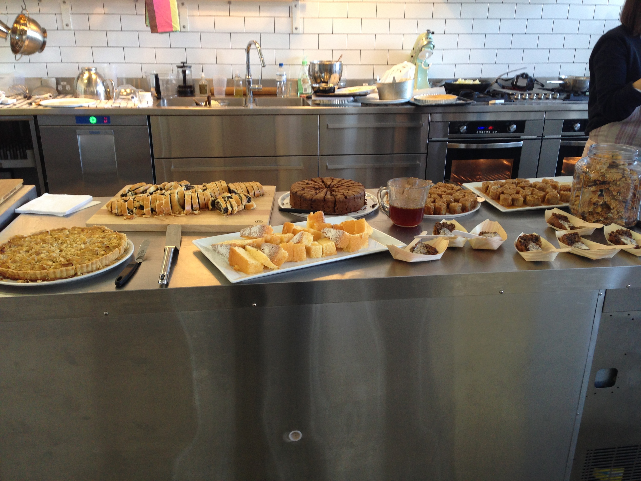 Cakes & Baked Goods prepared by the Monday Morning Cooking Club. BakeClub event held at the Flash in the Pan Studio.