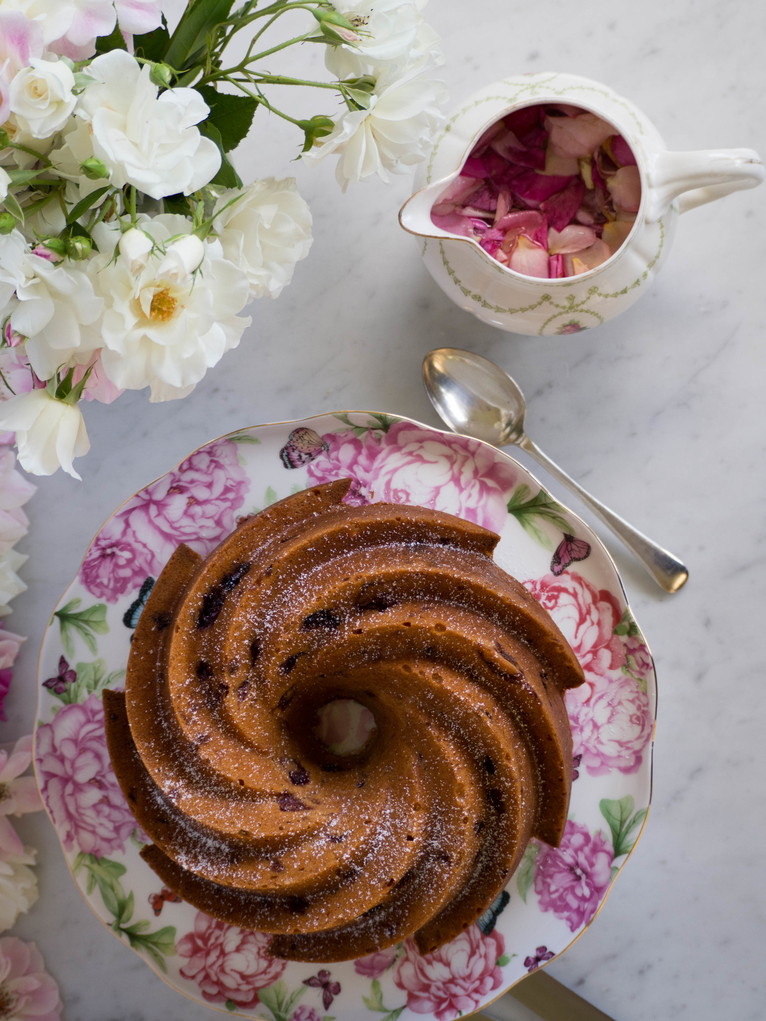 Raspberry Bundt Cake with Rose Syrup - Kulinary Adventures of Kath