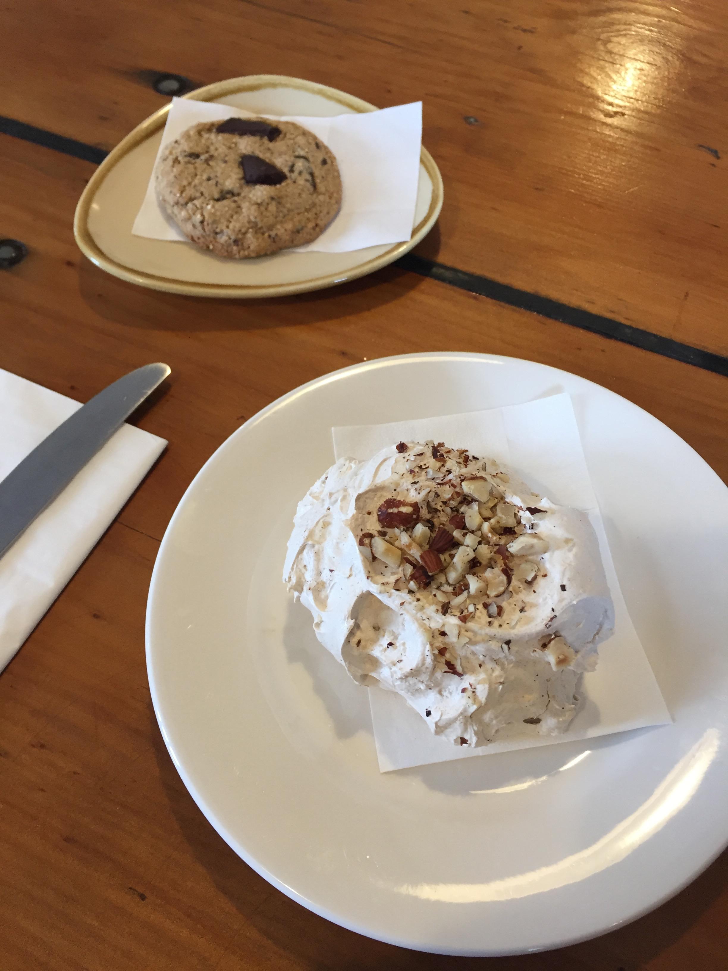 Meringue & GF Quinoa Choc Chip Cookie
