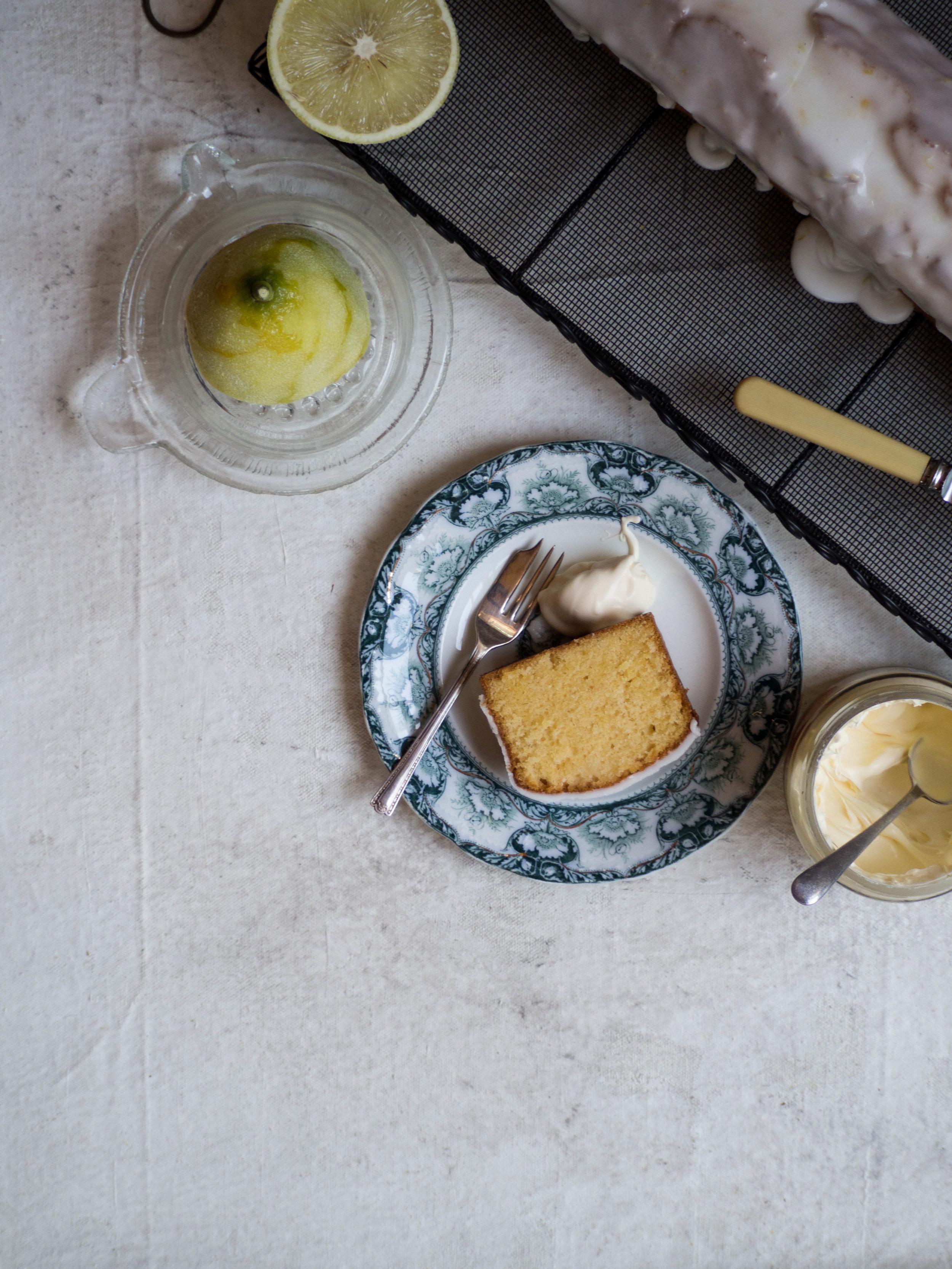 Bergamot Loaf Cake served with cream