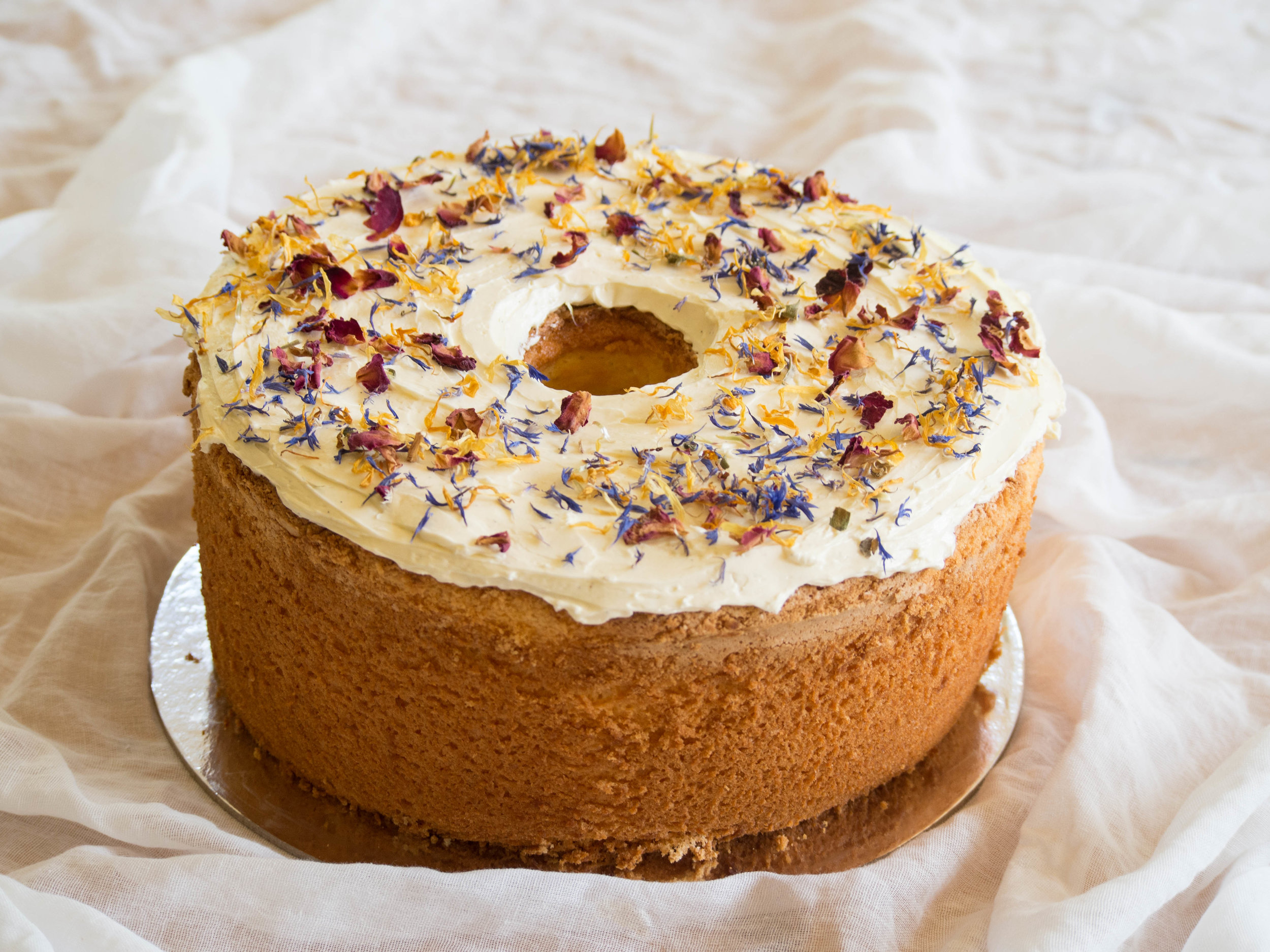 Custard Chiffon Cake with Swiss Meringue Buttercream & Dried Edible Flowers