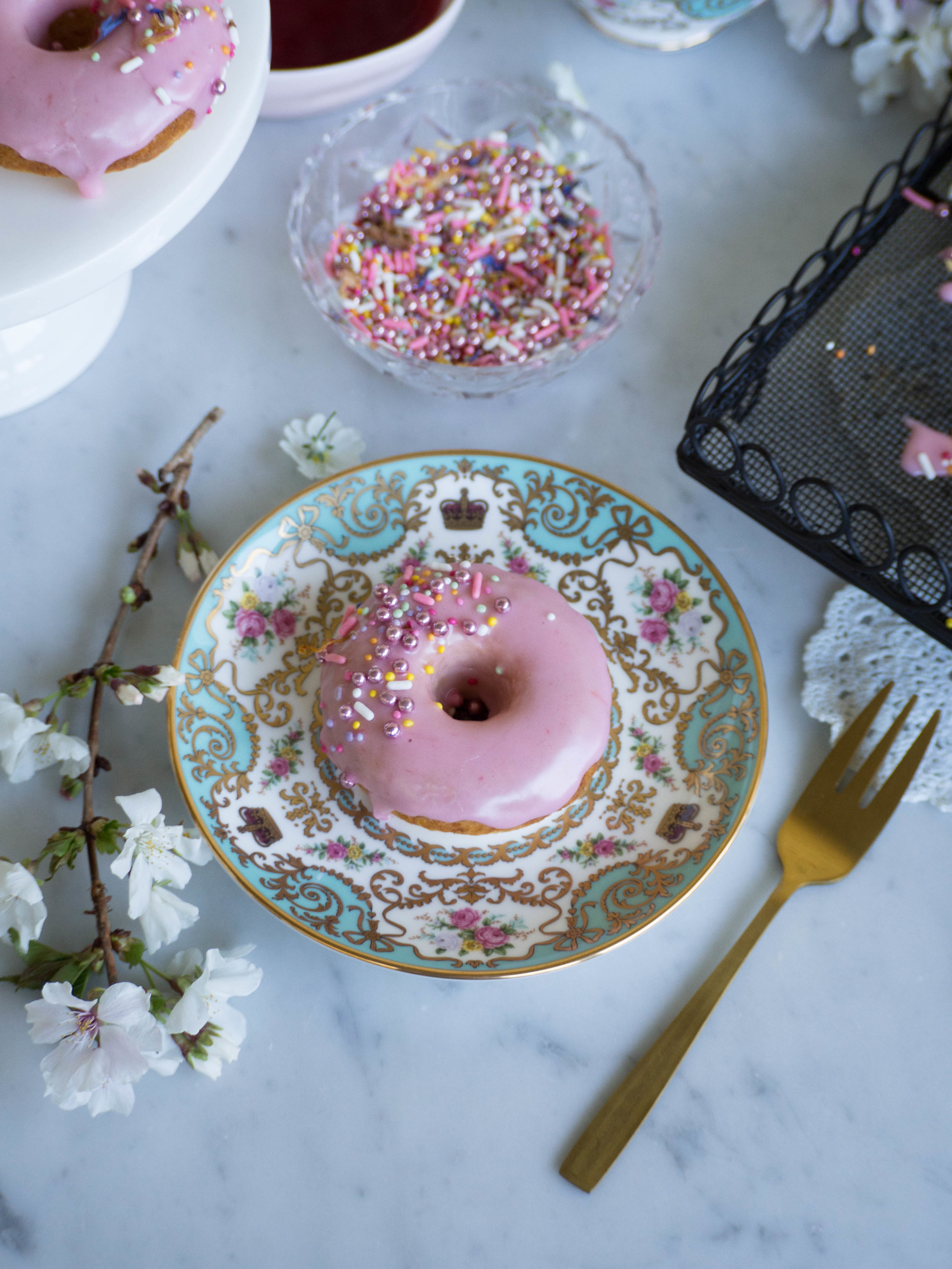 Baked Vanilla Doughnuts with Blood Orange Icing