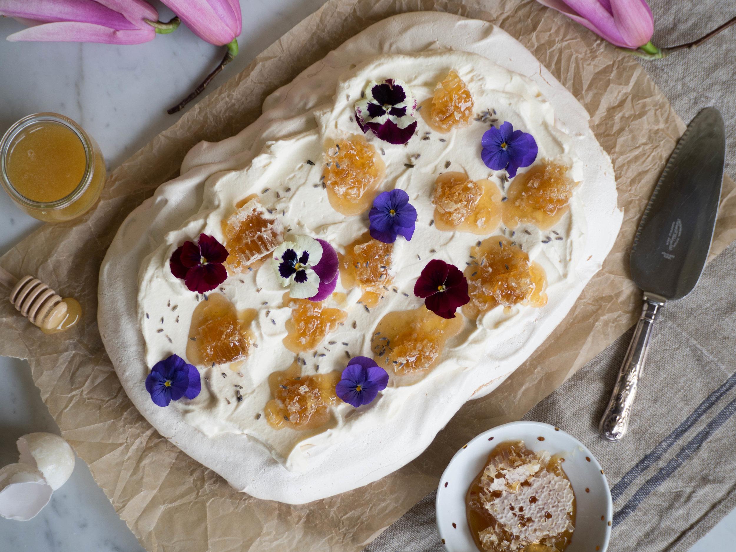 Duck Egg Pavlova with Fresh Honeycomb