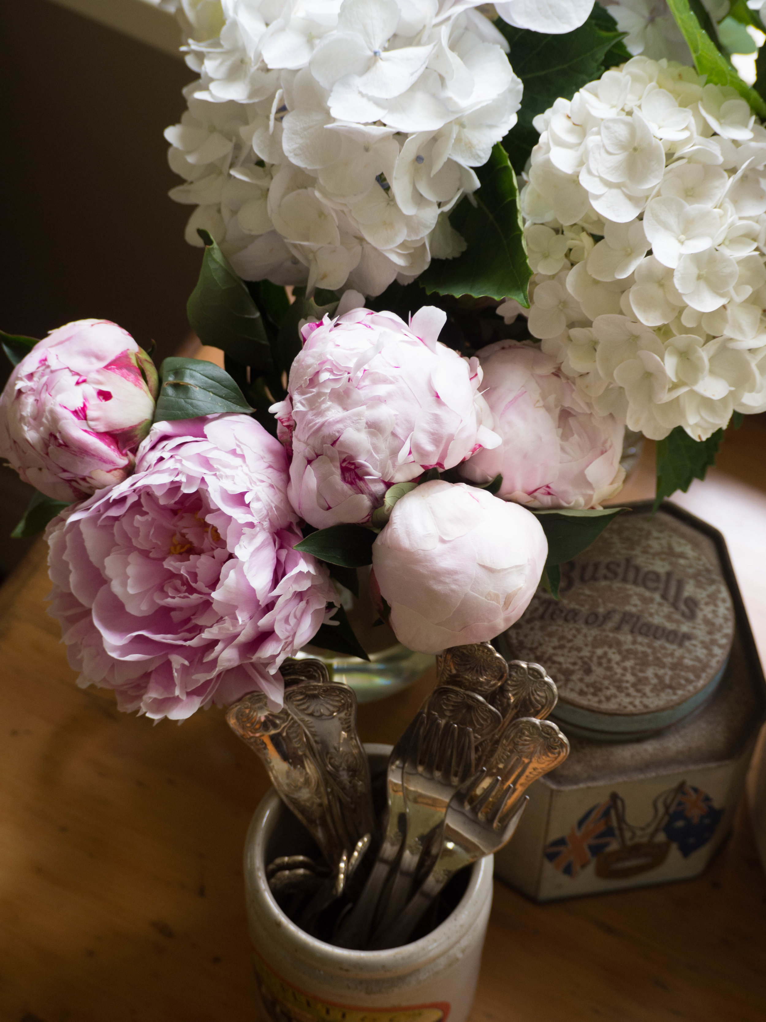 Peonies & Homegrown Hydrangeas