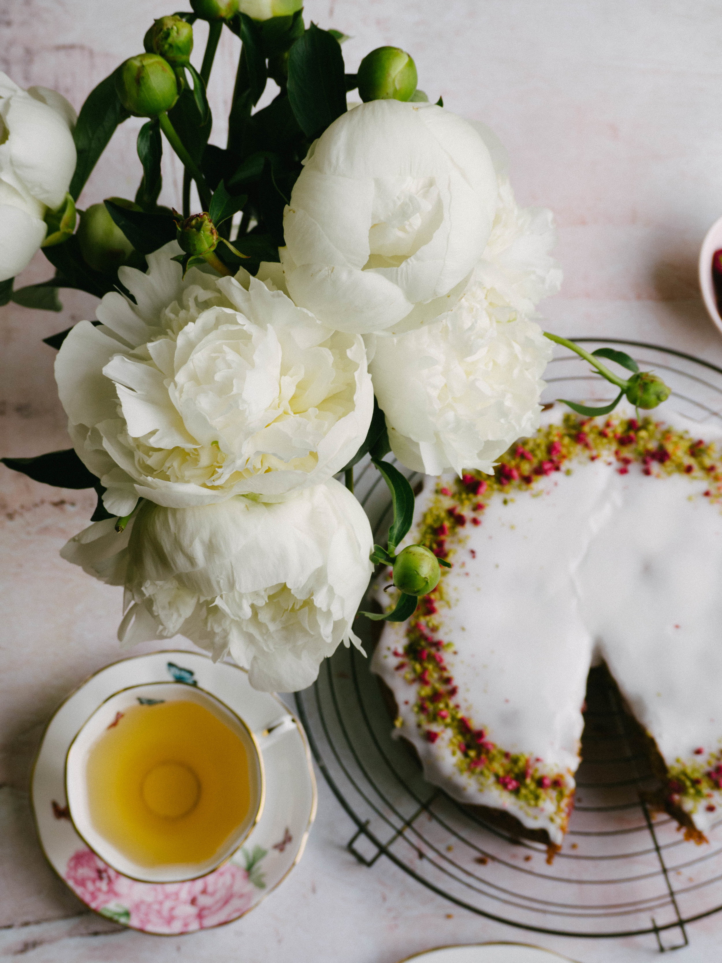 Pistachio Raspberry & Rose Cake with White Peonies