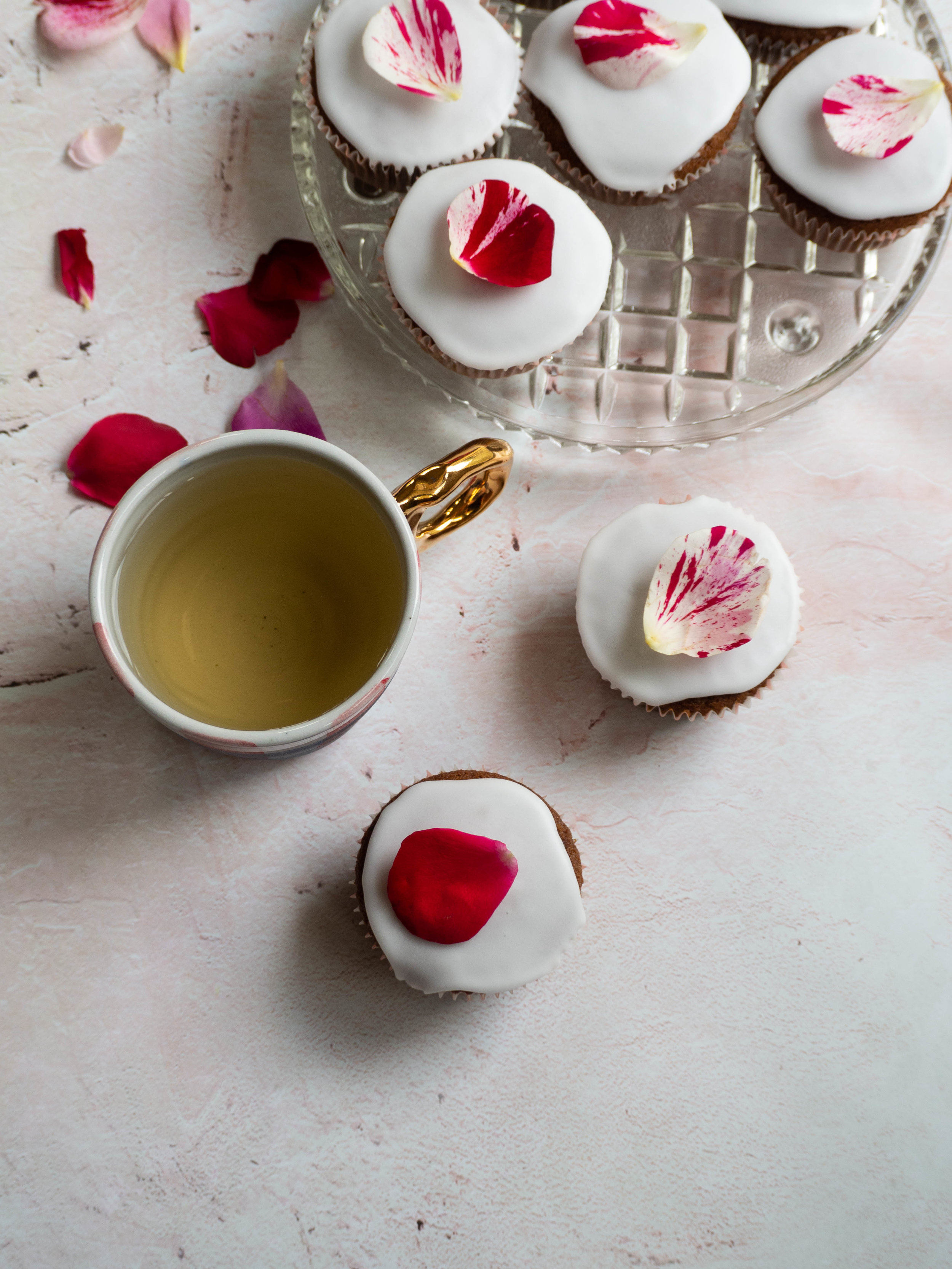 Ginger Date and Rose Cupcakes