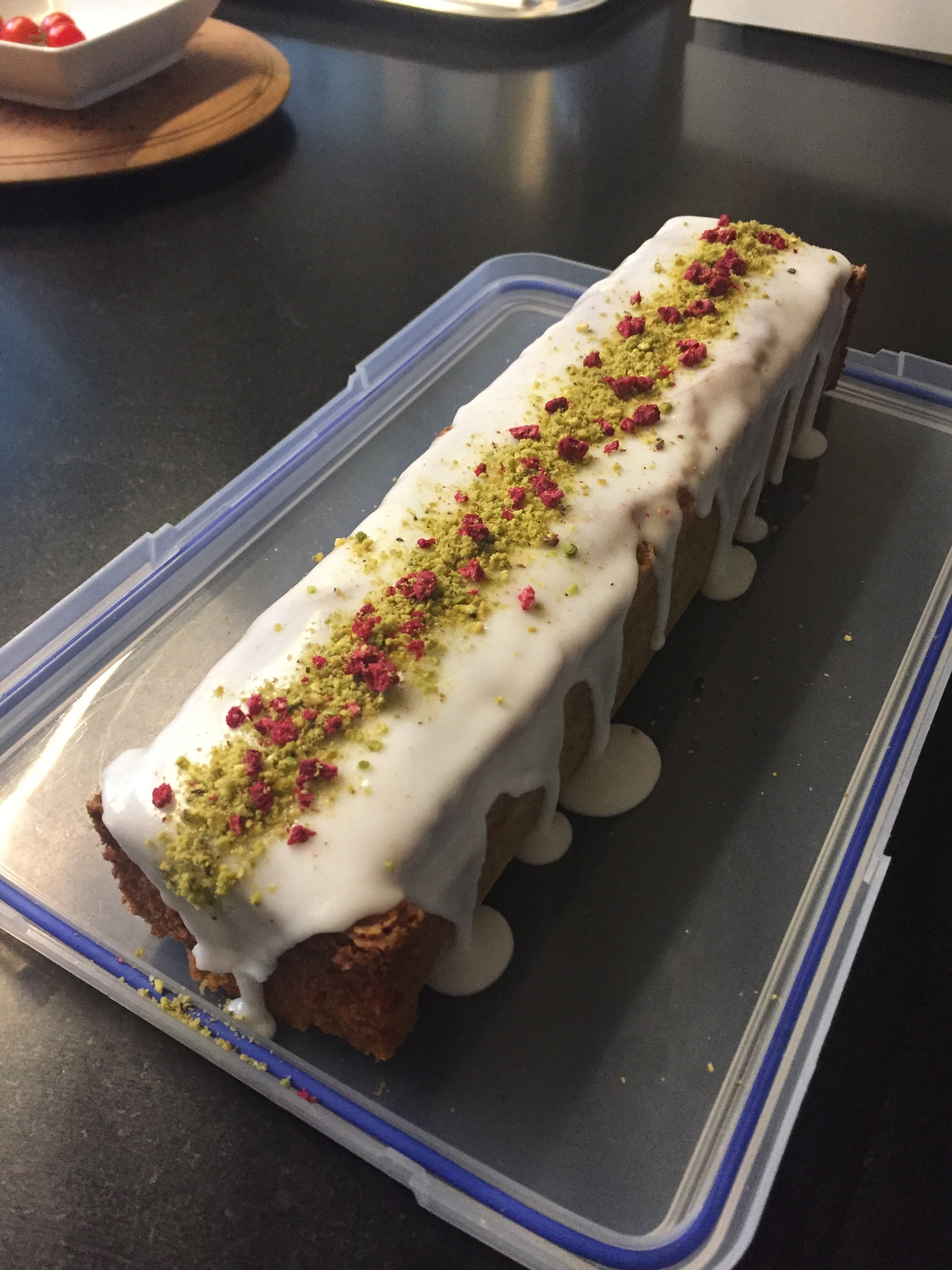Pistachio Loaf with Rose Icing + Freeze Dried Raspberries