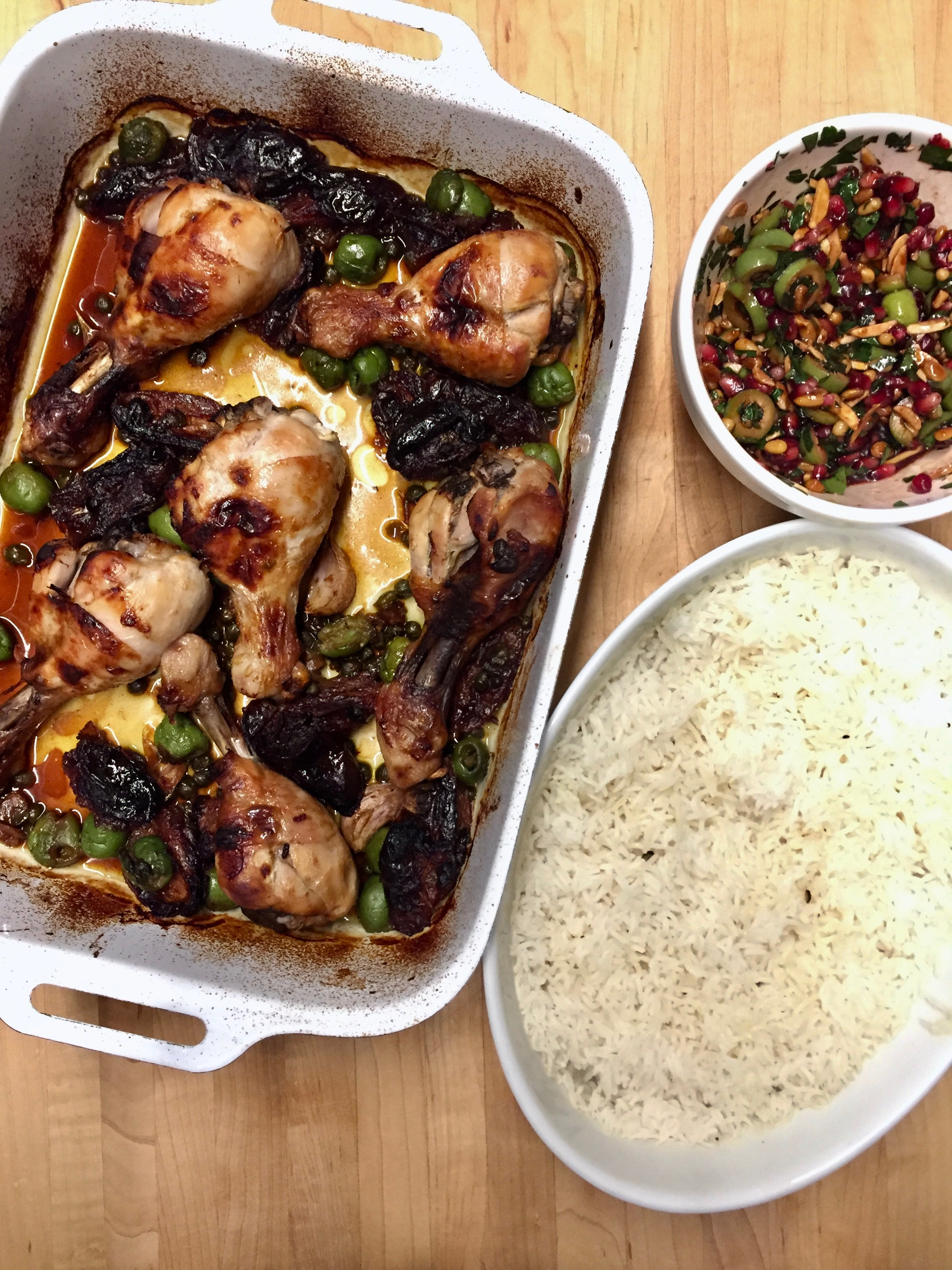 Chicken Marbella with Baked Rice with Pomegranate and Olive Salsa (added 08/08/2019)