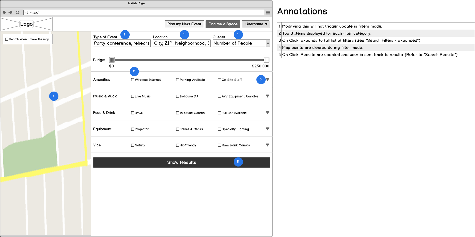 Annotated Wireframes: Search Page Filters