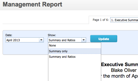 How to turn off Executive summary ratios