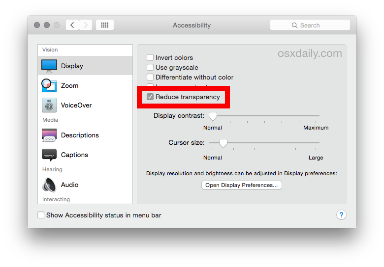 "Checking the option to ""Reduce transparency"" can dramatically speed up animations in OS X Yosemite."