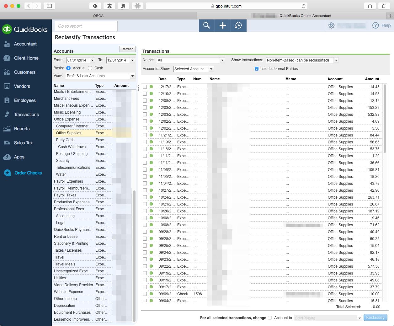 QuickBooks Online's   Reclassify Transactionsscreen