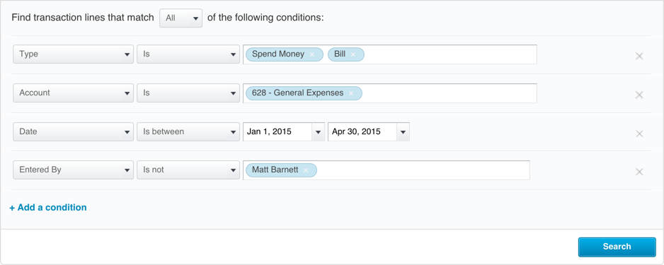 An example of Xero's Find & Recodesearch with four conditions
