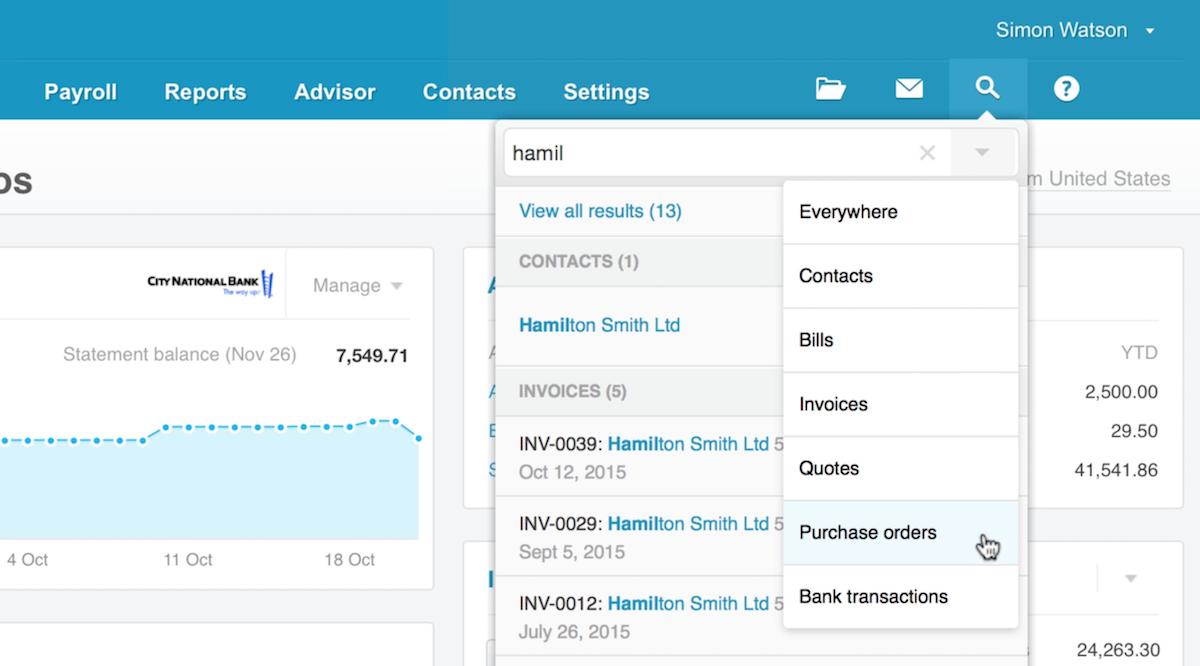 An example of Xero Search in a demo account