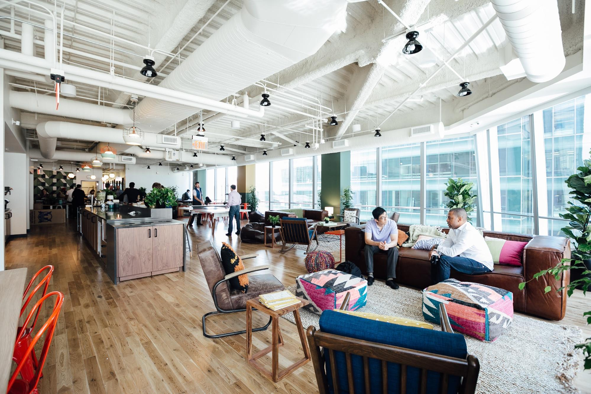 A common area in the  WeWork in Times Square , New York City