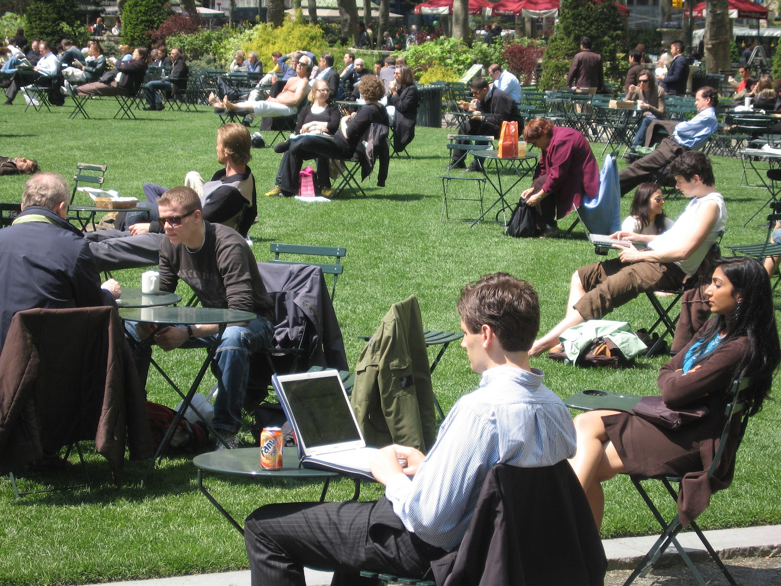 Bryant Park in New York City  has offered free wifi to the public since 2002.