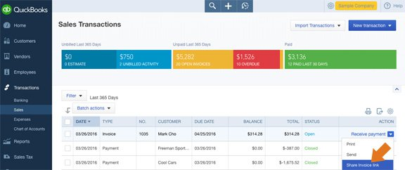 Now you can quickly grab an invoice link to share with your customers in QBO.
