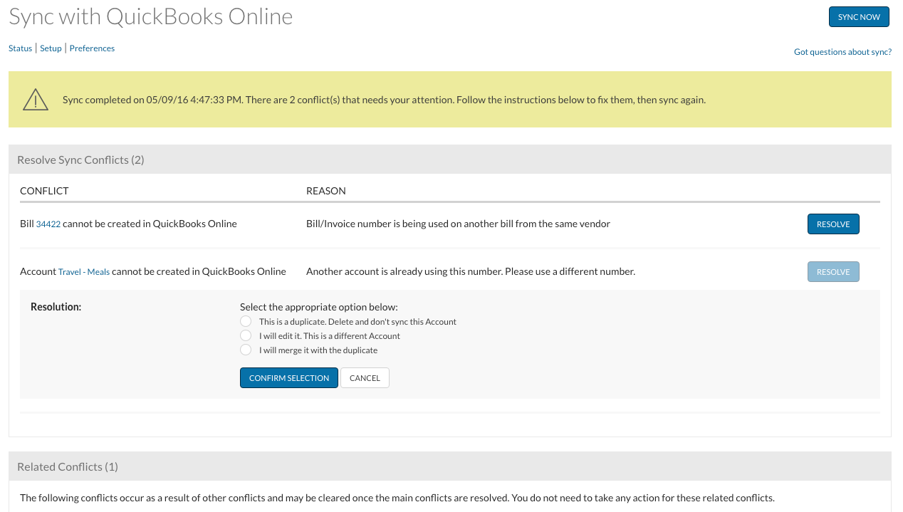 A preview of the upgraded Bill.com Sync Status screen