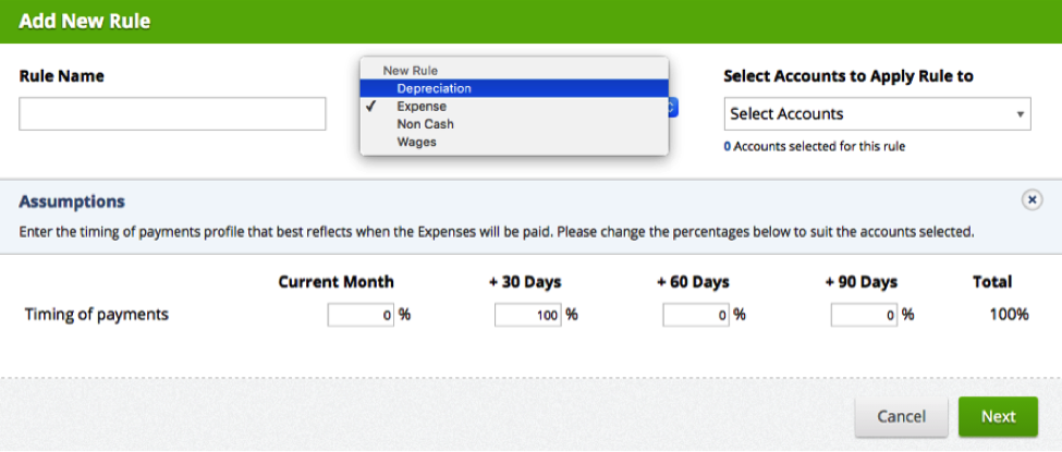 The new depreciation rule in Spotlight will automatically journal depreciation to the balance sheet and treat it as a non-cash item. You can also easily apportion depreciation to multiple accumulated depreciation accounts. ( learn more )