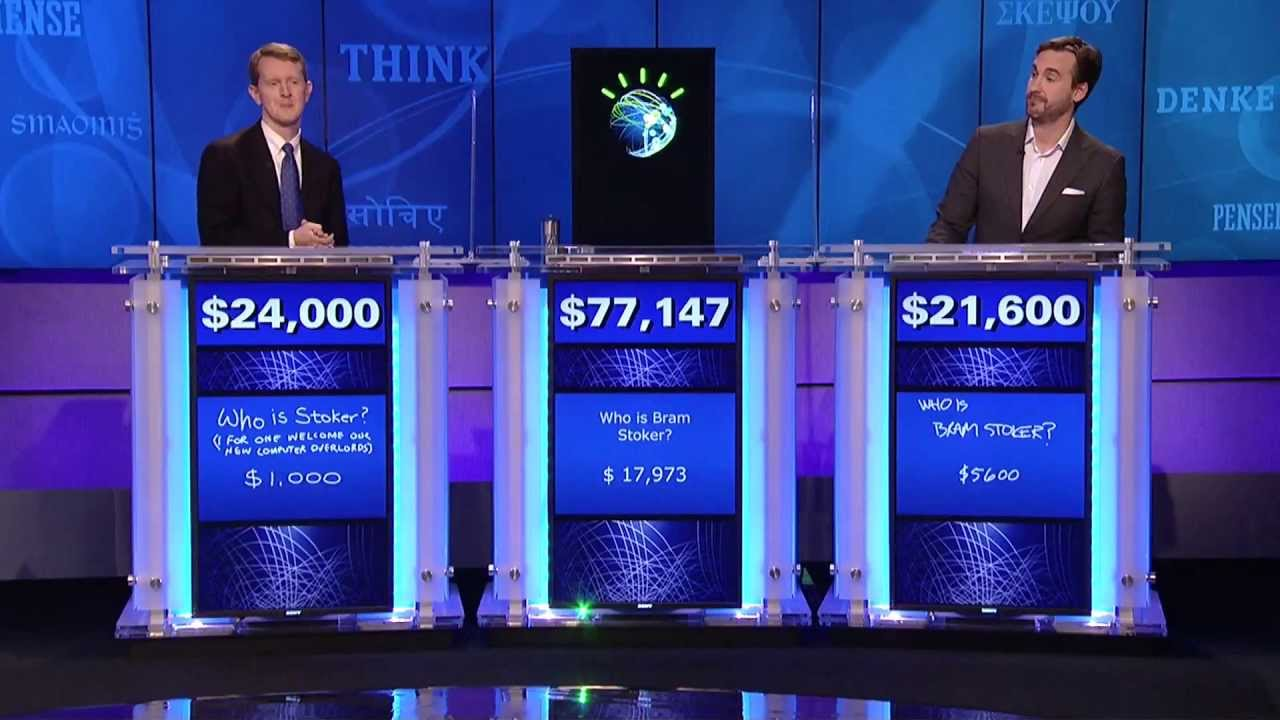 IBM's Watson supercomputer defeating its human competitors on  Jeopardy!  in 2011.