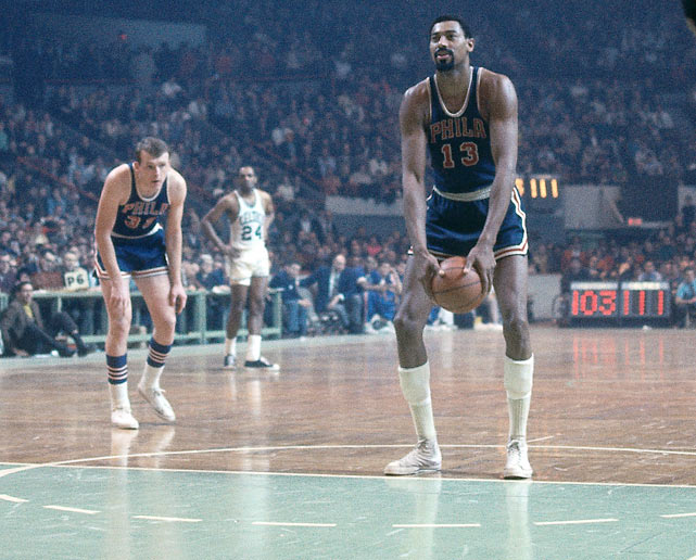 """Despite being a miserable overhand free throw shooter, Wilt Chamberlain refused to shoot free throws underhand because it made him feel """"like a sissy."""""""