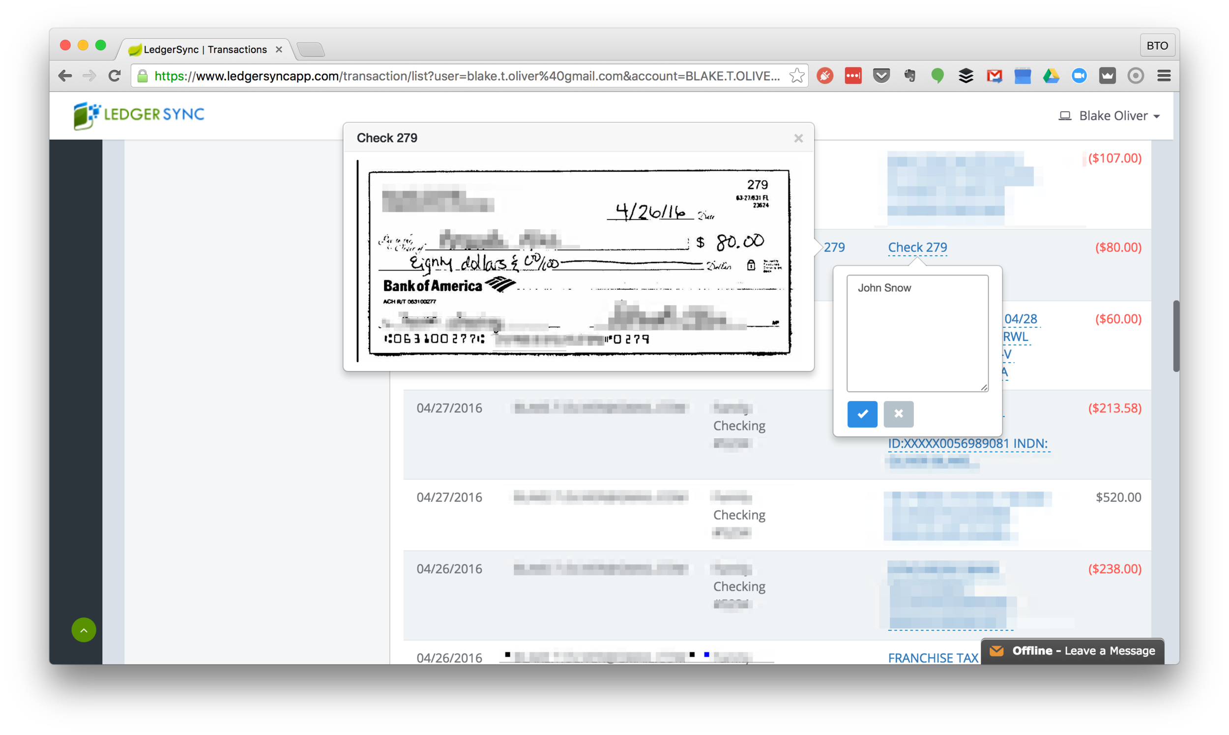 An example of a check image imported automatically by LedgerSync from online banking