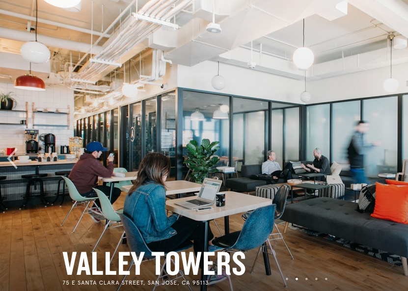 "Common area in the new WeWork ""Valley Towers"" in downtown San Jose"