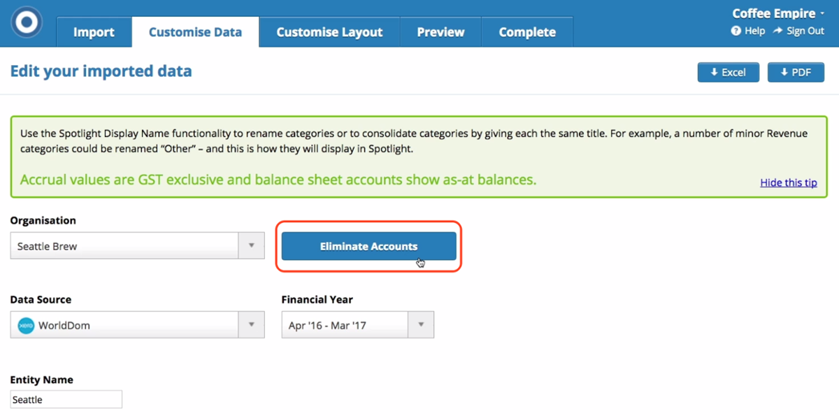 Now you can automatically eliminate intercompany accounts in Spotlight each reporting period.